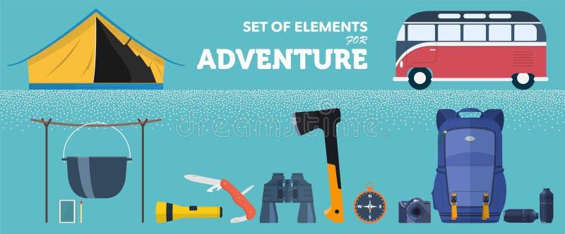 Un insieme degli accessori per l'avventura attiva in natura royalty illustrazione gratis