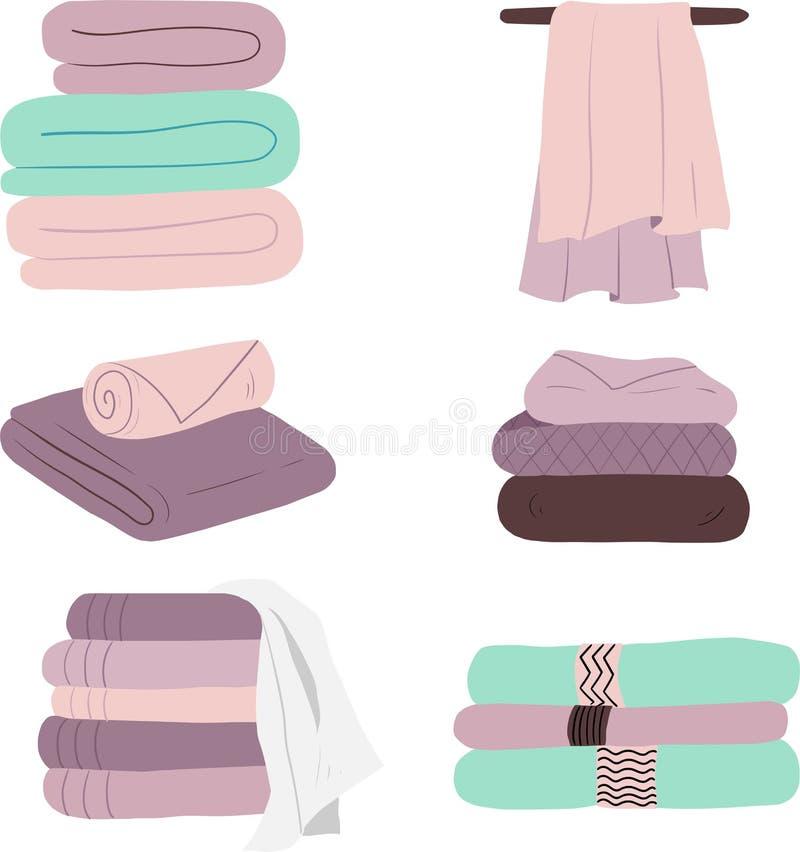 Un insieme degli asciugamani di vettore illustrazione di stock