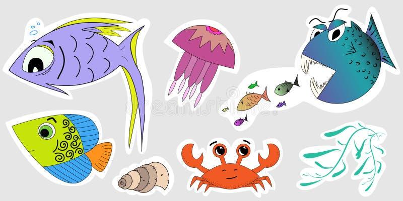 Un insieme degli autoadesivi degli abitanti marini Illustrazioni del bambino del pesce, granchio, medusa, alga, conchiglie illustrazione di stock
