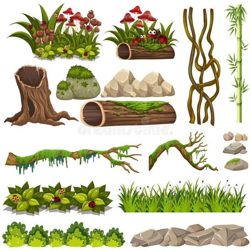 Un insieme degli elementi della natura royalty illustrazione gratis