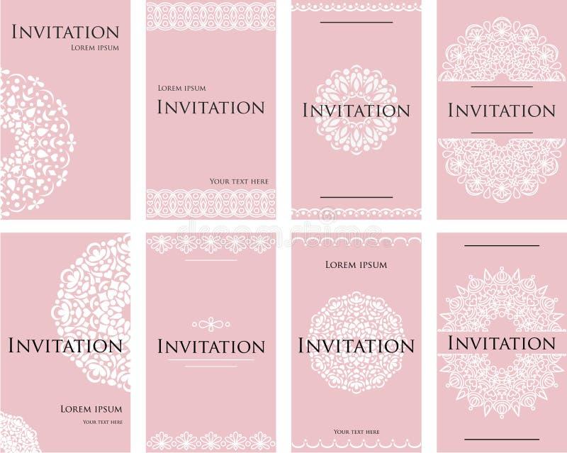 Un insieme degli inviti per una celebrazione di nozze Bella carta, carta intestata per il testo illustrazione vettoriale