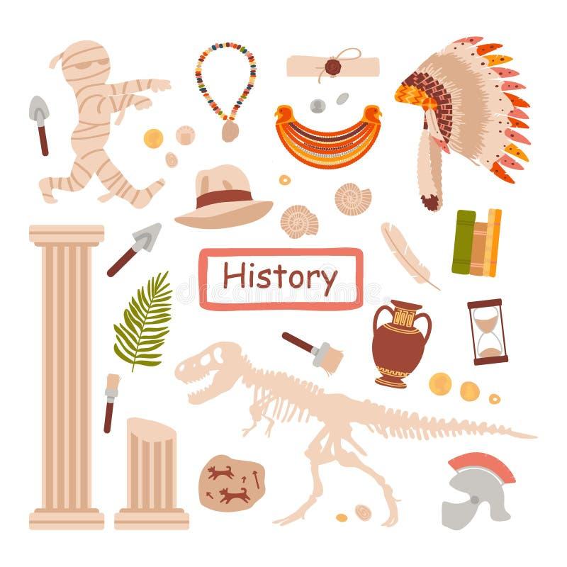 Un insieme degli oggetti per una lezione di Storia isolati su un fondo bianco Lo studio su storia antichit? Illustrazione di vett illustrazione vettoriale