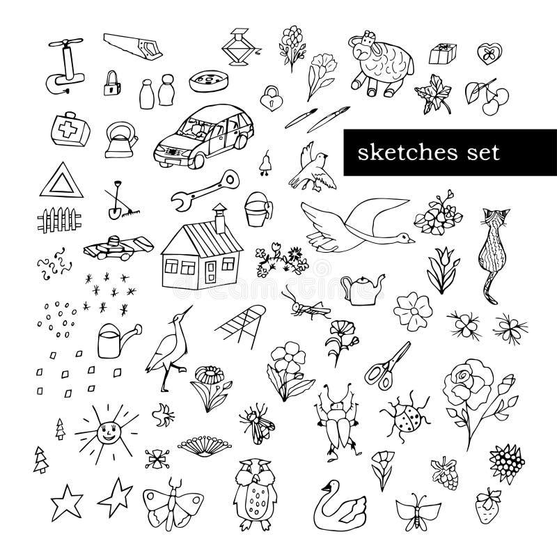 Un insieme degli oggetti semplici del fumetto, contorno in bianco e nero Il tema dei fiori ed insetti, uccelli ed elementi della  fotografie stock libere da diritti