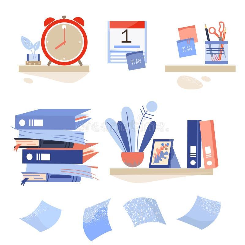 Un insieme degli strumenti dell'ufficio Cose per l'ufficio e la pianificazione Di nuovo al banco illustrazione di stock