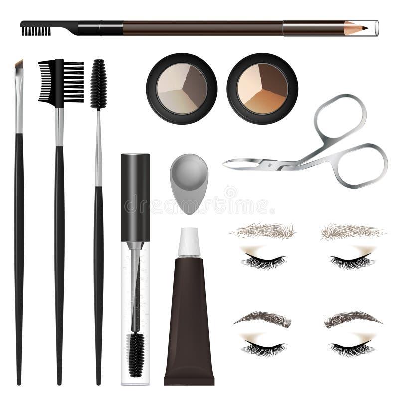 Un insieme degli strumenti e degli accessori per la cura delle sopracciglia immagini stock libere da diritti