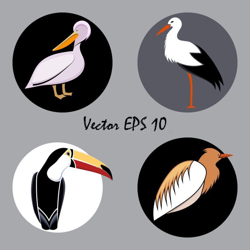 Un insieme degli uccelli astratti colorati per il logo sui cerchi, isolati illustrazione vettoriale