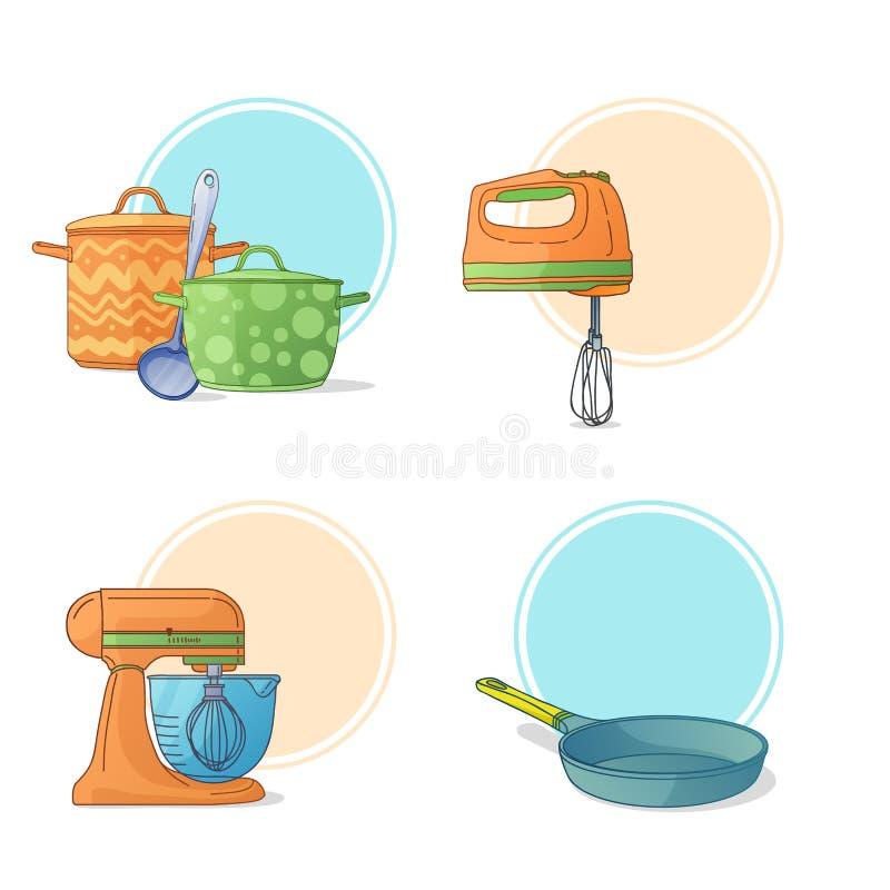 Un insieme degli utensili della cucina in uno stile del fumetto Strumenti ed apparecchiature della cucina per cucinare Etichette, royalty illustrazione gratis