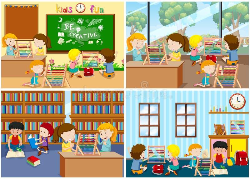 Un insieme dei bambini che imparano abaco royalty illustrazione gratis