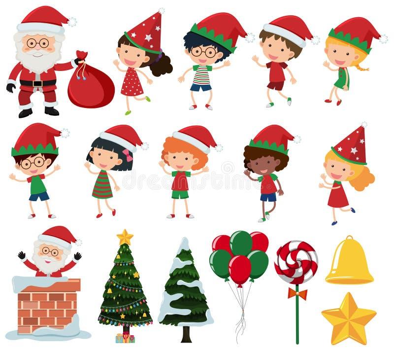 Un insieme dei bambini nel Natale illustrazione di stock