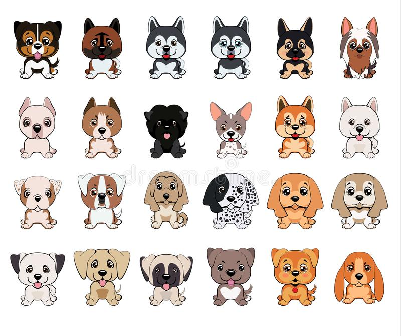 Un insieme dei cani delle razze differenti, cuccioli dei colori differenti, tipi di orecchie illustrazione vettoriale