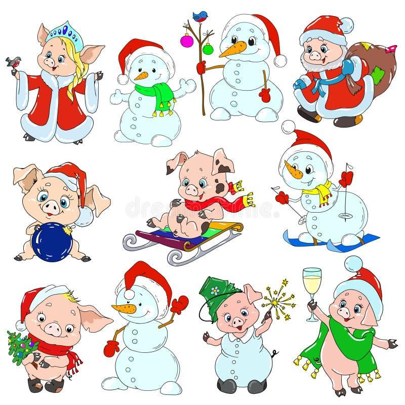 Un insieme dei caratteri svegli per il nuovo anno Caratteri di Natale Porcellini e pupazzi di neve per le cartoline d'auguri Vett royalty illustrazione gratis
