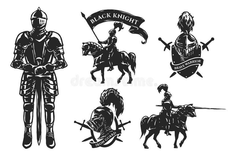 Un insieme dei cavalieri medievali royalty illustrazione gratis