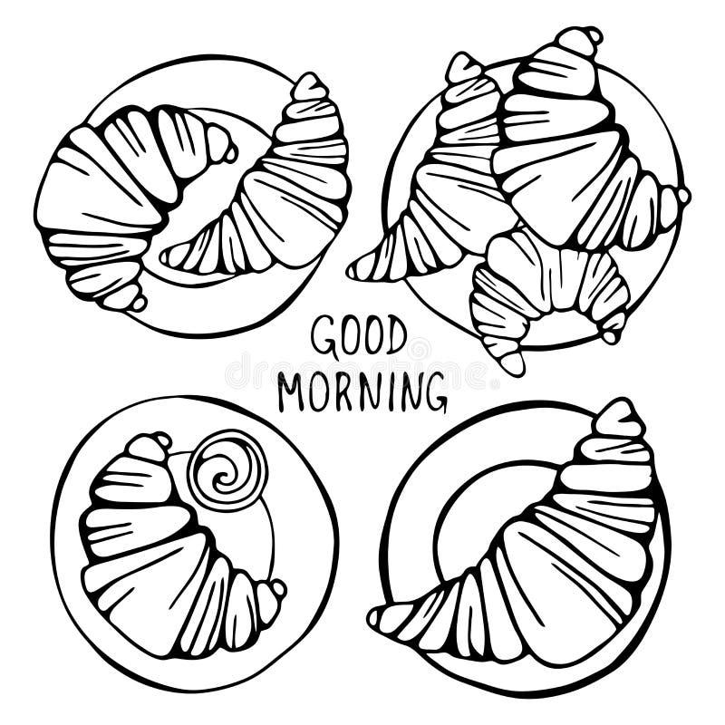 Un insieme dei croissant illustrazione vettoriale