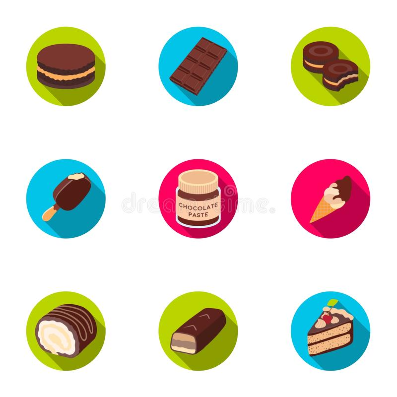 Un insieme dei dolci del cioccolato Prodotti del cioccolato per la gente Icona dei dessert del cioccolato nella raccolta dell'ins illustrazione di stock