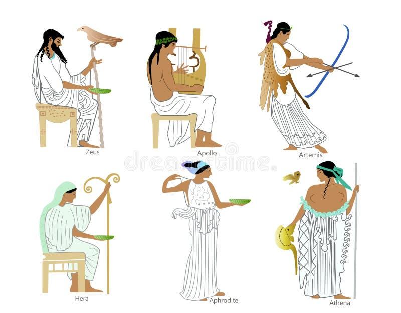 Un insieme dei e delle dee del greco antico royalty illustrazione gratis