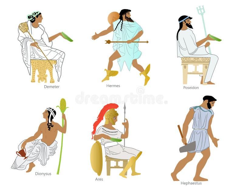 Un insieme dei e delle dee del greco antico