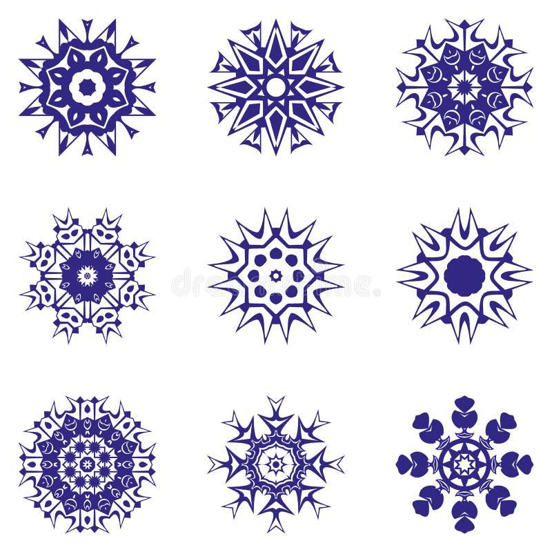 Un insieme dei fiocchi di neve Illustrazione di vettore immagini stock libere da diritti