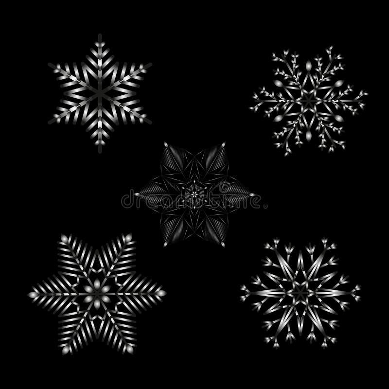 Un insieme dei fiocchi di neve modellati con il nero alla pendenza bianca sul nero per progettazione illustrazione vettoriale