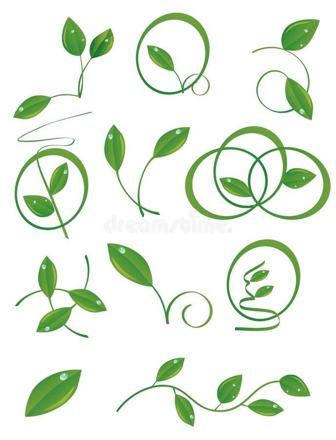 Un insieme dei fogli verdi illustrazione vettoriale