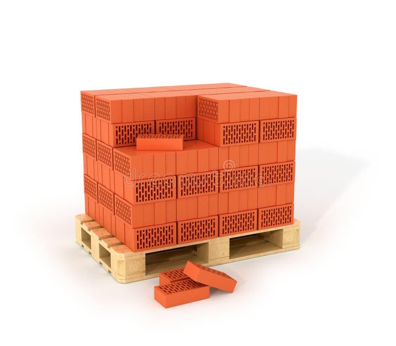 Un insieme dei mattoni fatti sui pallet di legno illustrazione vettoriale