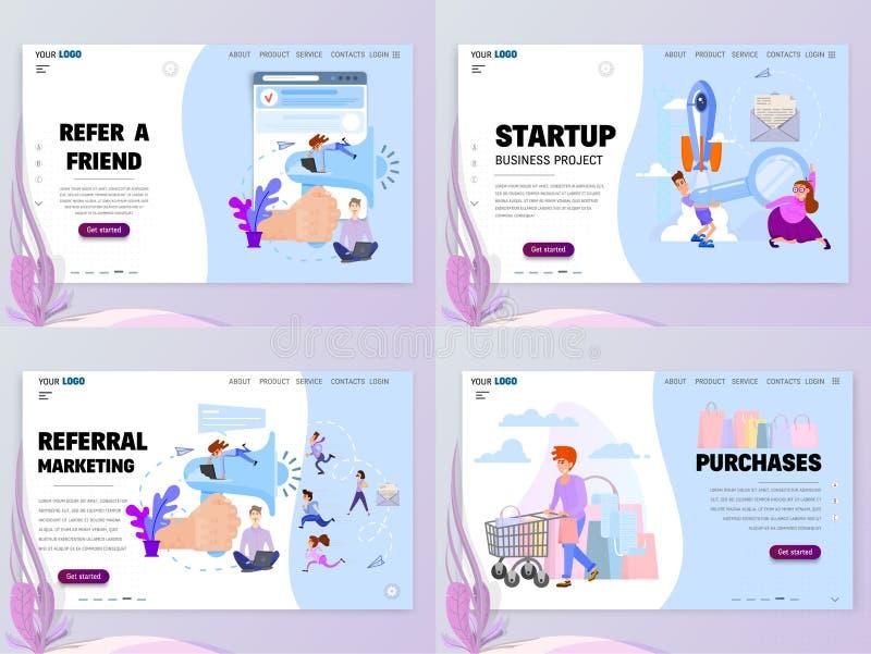 Un insieme dei modelli di Home Page faccia riferimento un amico, la vendita di rinvio, la partenza, acquisti illustrazione di stock