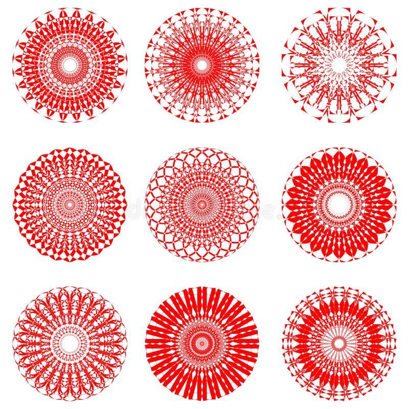 Un insieme dei modelli simmetrici rossi del cerchio nella progettazione a filigrana del pizzo illustrazione vettoriale