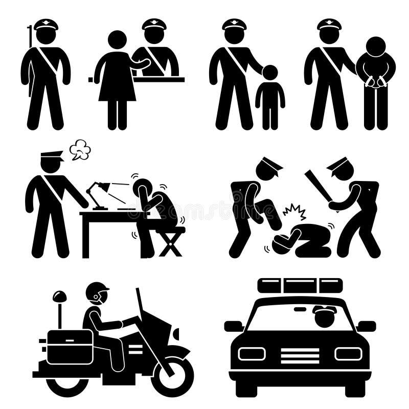 Pittogramma rapporto del poliziotto della stazione di polizia illustrazione di stock