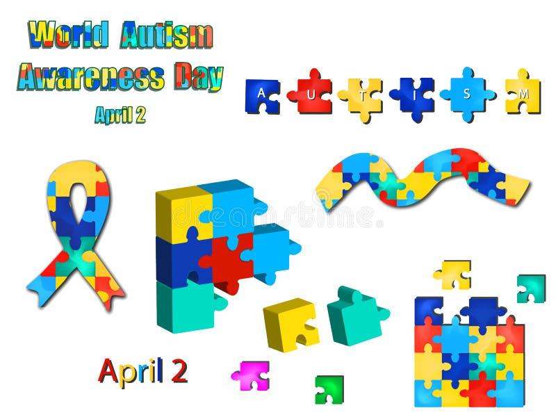 Un insieme dei puzzle dai nastri e delle iscrizioni con il giorno di autismo del mondo Illustrazione di vettore su fondo isolato illustrazione vettoriale