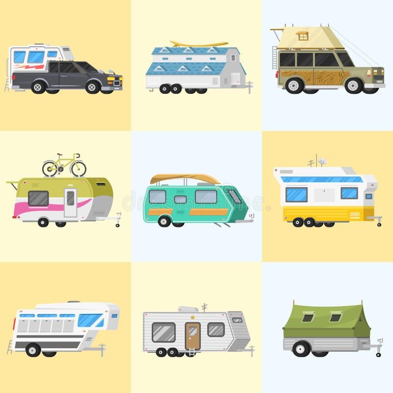 Un insieme dei rimorchi o del caravan di campeggio della famiglia rv Bus turistico e tenda per ricreazione ed il viaggio all'aper illustrazione di stock