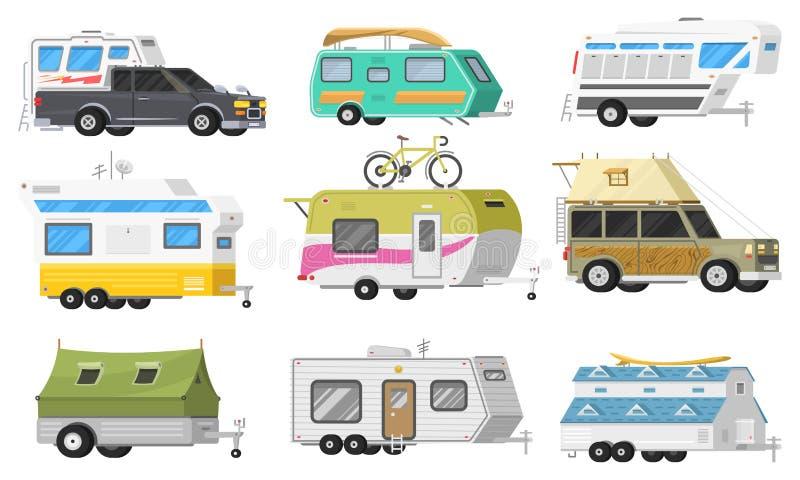 Un insieme dei rimorchi o del caravan di campeggio della famiglia rv Bus turistico e tenda per ricreazione ed il viaggio all'aper royalty illustrazione gratis