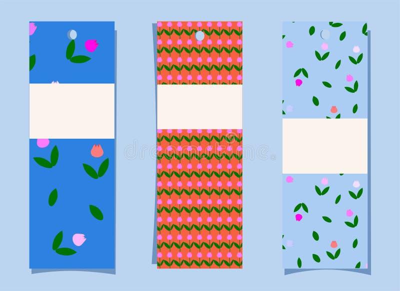 Un insieme dei segnalibri Modello sveglio semplice del tulipano su fondo blu ed arancio Etichette, etichette con la stampa florea illustrazione di stock