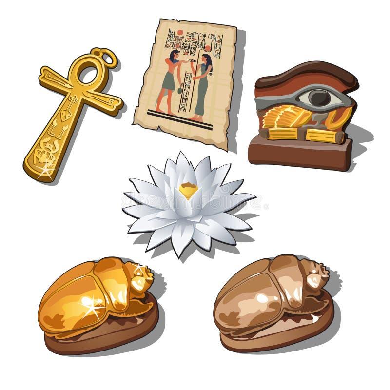 Un insieme dei simboli sacri e dei manufatti dell'egitto antico isolati su un fondo bianco Illustrazione di vettore illustrazione di stock