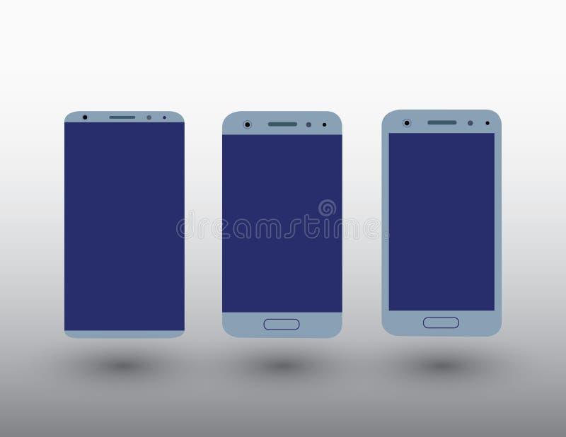 Un insieme dei telefoni cellulari moderni dello schermo attivabile al tatto di colore blu su fondo leggero con l'illustrazione di illustrazione vettoriale