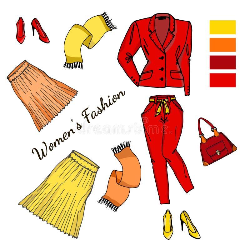 Un insieme dei vestiti alla moda, delle scarpe e degli accessori per le donne illustrazione di stock