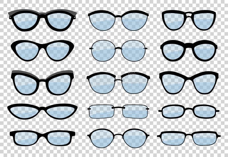 Un insieme dei vetri isolati Icone di modello di vetro di vettore Occhiali da sole, vetri, isolati su fondo bianco siluette royalty illustrazione gratis