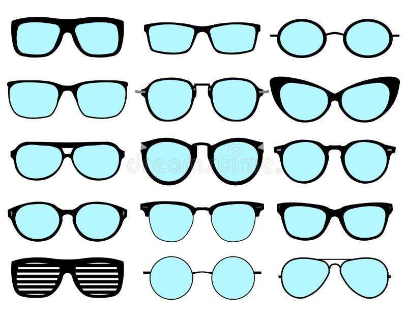 Un insieme dei vetri isolati Icone di modello di vetro di vettore Occhiali da sole, vetri, isolati su fondo bianco Varie forme royalty illustrazione gratis