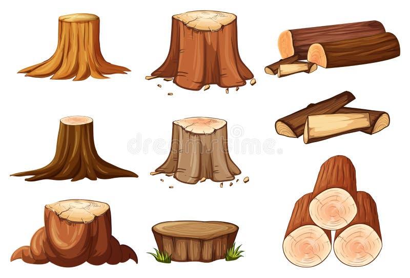 Un insieme del ceppo e del legname di albero illustrazione di stock