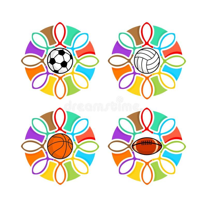 Un insieme del cristiano mette in mostra il logos Gruppi dei cristiani e di vari sport Emblema per concorrenza, ministero, confer illustrazione vettoriale