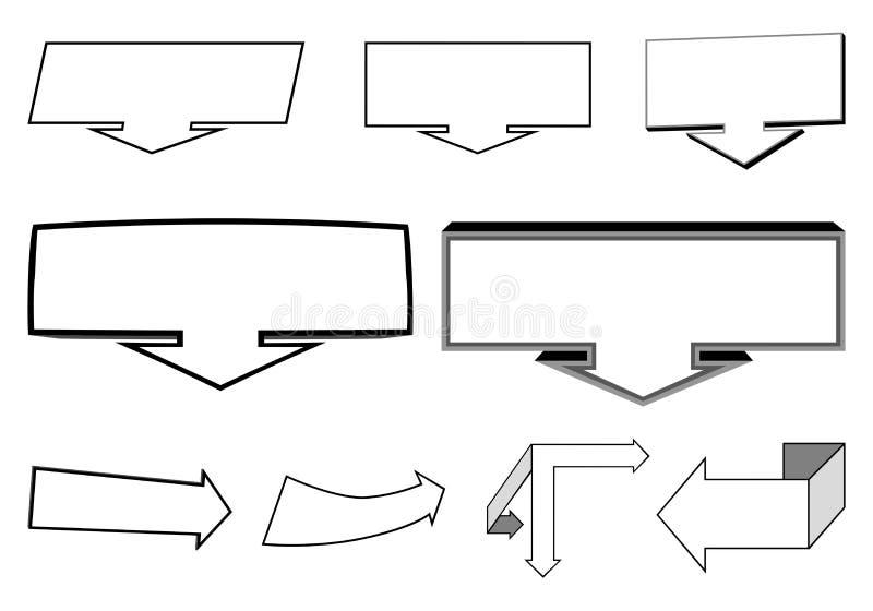 Un insieme del 2D e degli elementi delle frecce 3D royalty illustrazione gratis
