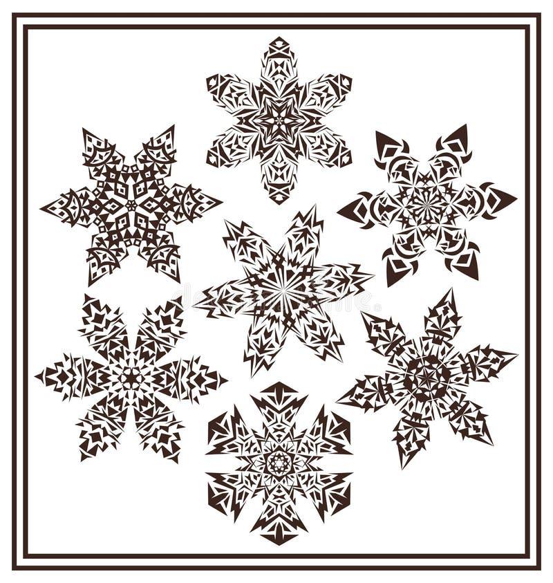 Un insieme del fiocco di neve geometrico elegante nero dell'inverno 7 modella royalty illustrazione gratis