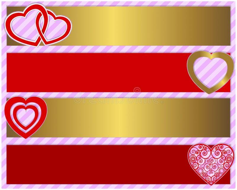 Un insieme del giorno del biglietto di S. Valentino di quattro insegne illustrazione di stock