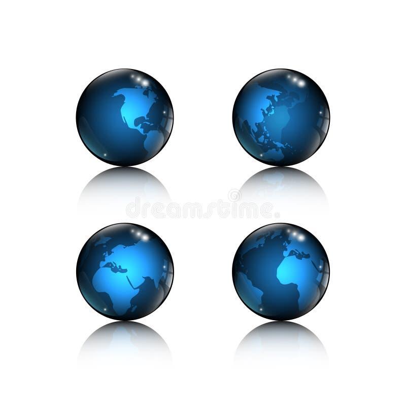 Un insieme del globo blu dell'icona di 4 logo con gli elementi della mappa di mondo progetta su fondo bianco illustrazione vettoriale