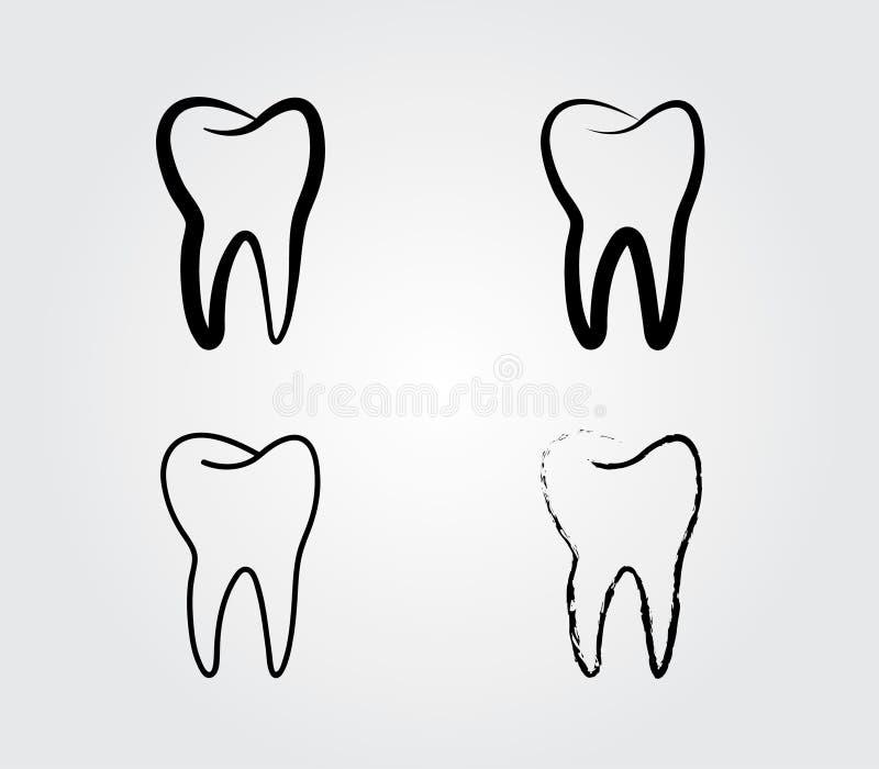 Un insieme del logo sano nero del dente per le cliniche dentarie royalty illustrazione gratis