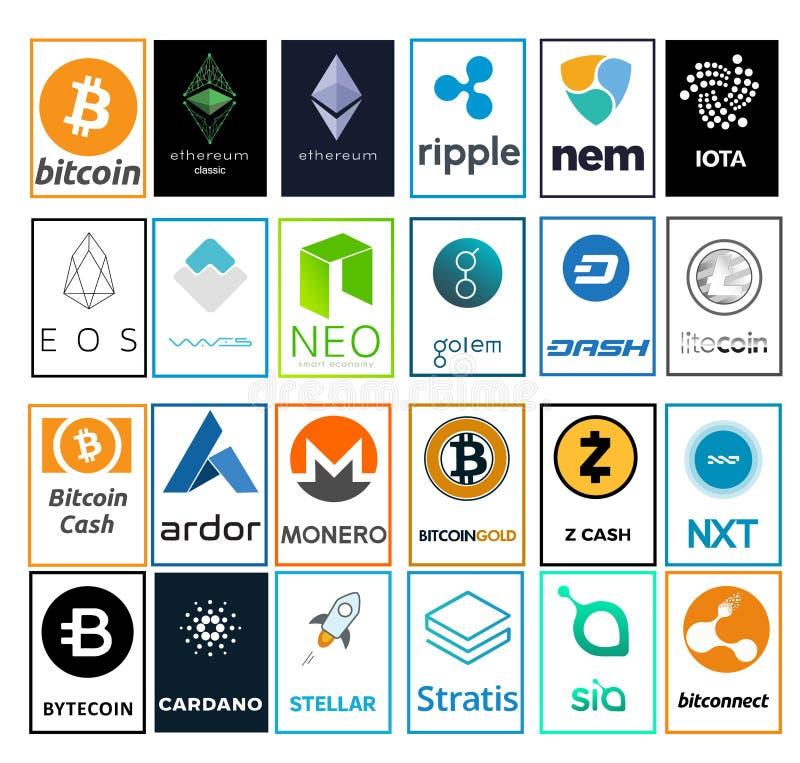 Un insieme del logos delle cripto-valute illustrazione di stock