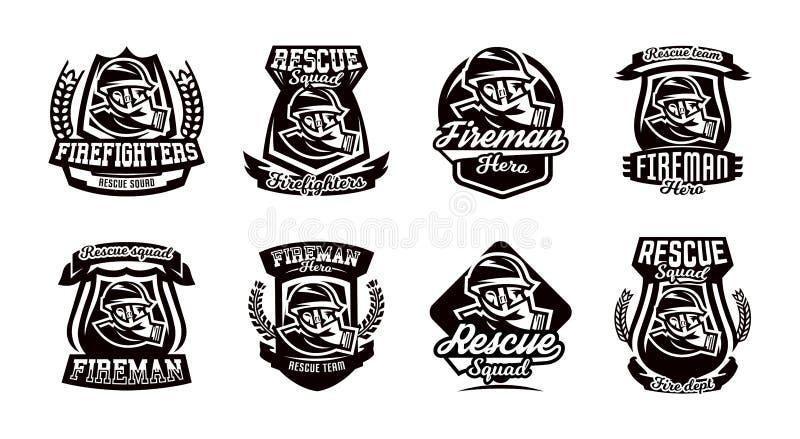 Un insieme del logos, emblemi, un vigile del fuoco in una maschera antigas illustrazione di stock