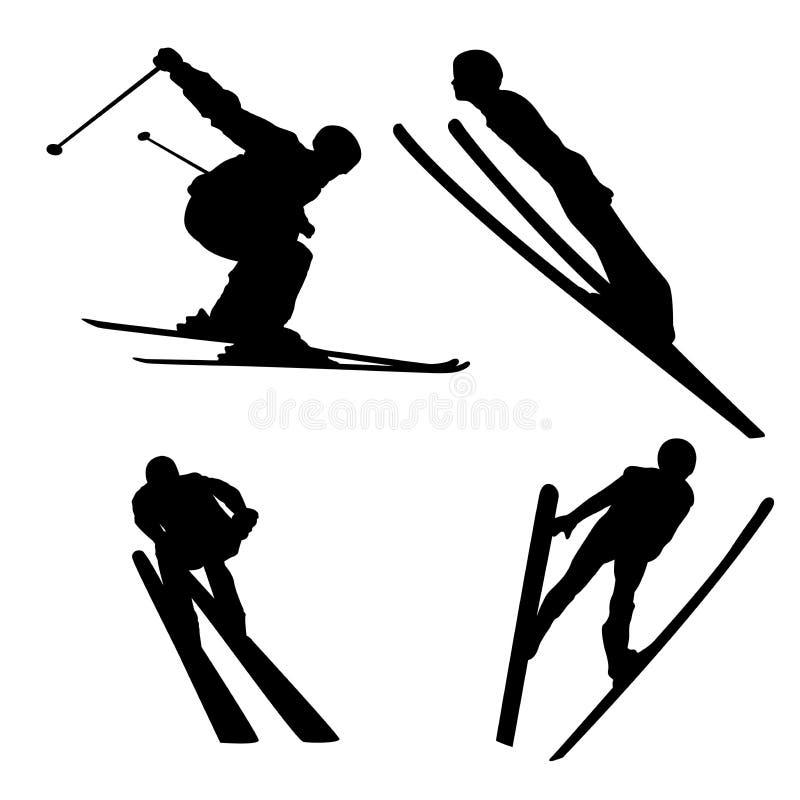 Un insieme del logos per gli sport invernali, una siluetta di uno sciatore in un salto royalty illustrazione gratis