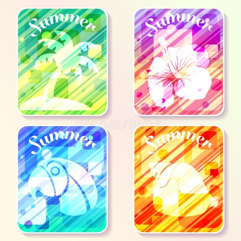 Un insieme del manifesto astratto variopinto dell'estate quattro progetta illustrazione di stock