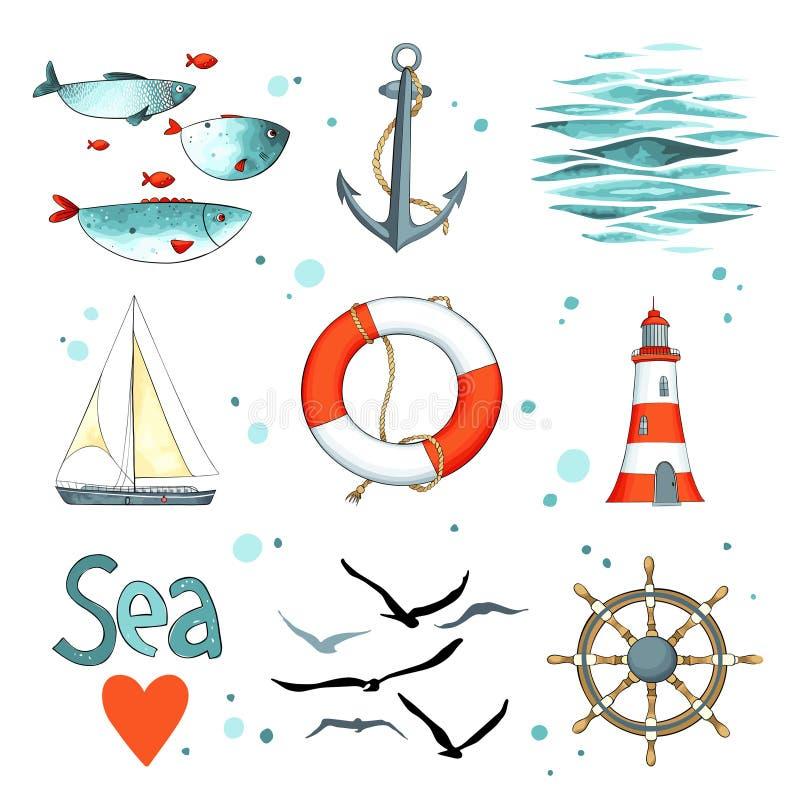 Un insieme del mare di 9 elementi nautici isolati su bianco royalty illustrazione gratis