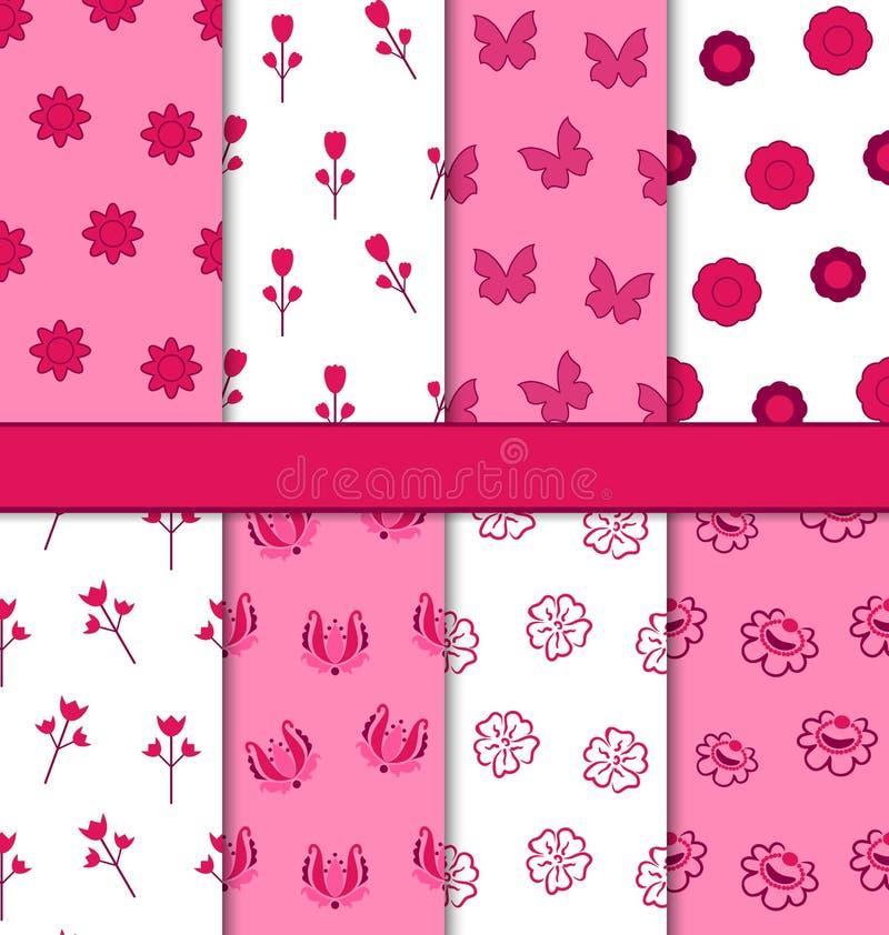Un insieme del modello romantico floreale astratto senza cuciture 8 illustrazione di stock