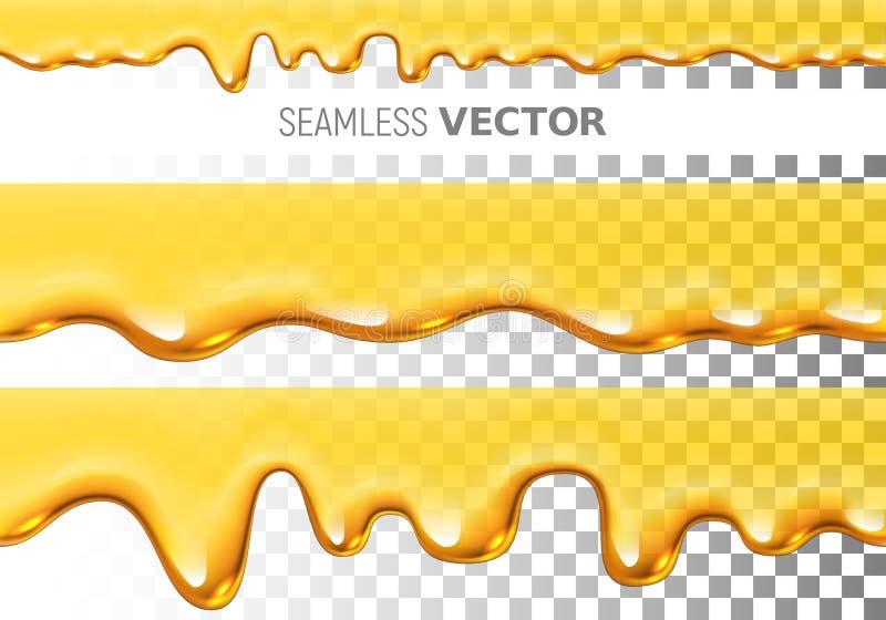 Un insieme del modello senza cuciture del miele della sgocciolatura di vettore trasparente due su fondo a quadretti royalty illustrazione gratis